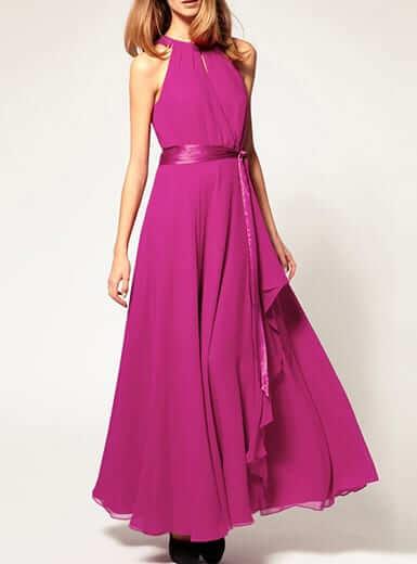 Satin Belt Halter Maxi Dress