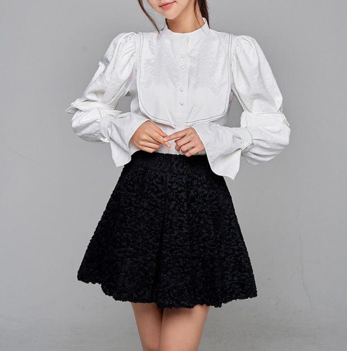 Long Sleeve 2 Piece Mini Skirt Set