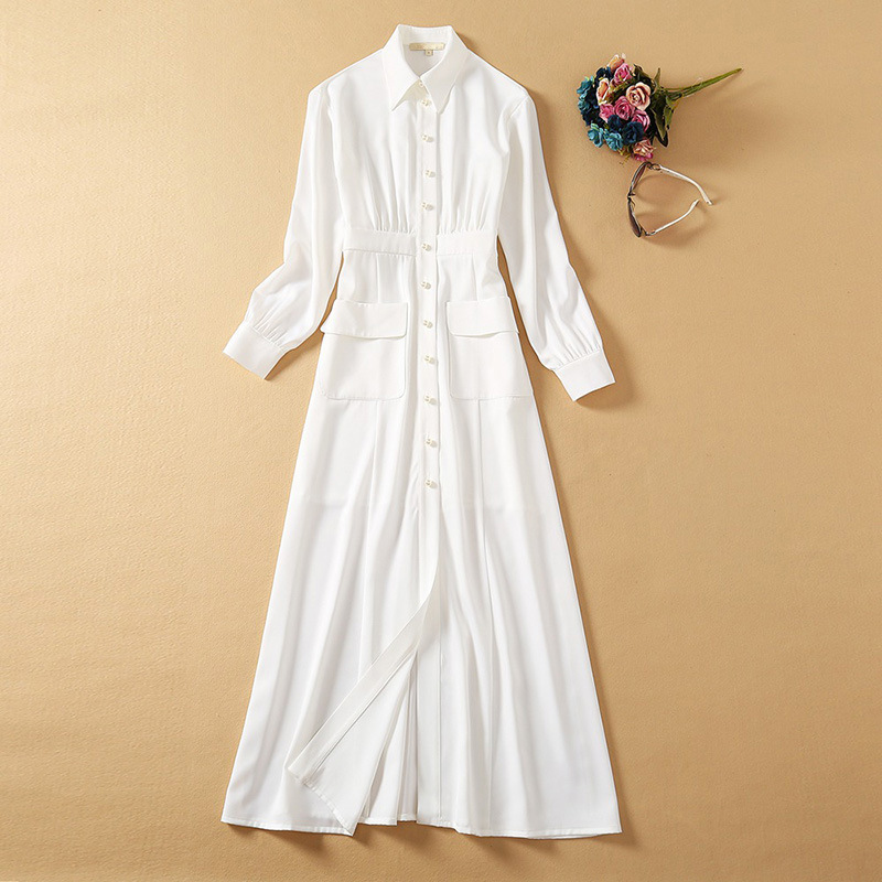 Single-Breasted White Formal Dress
