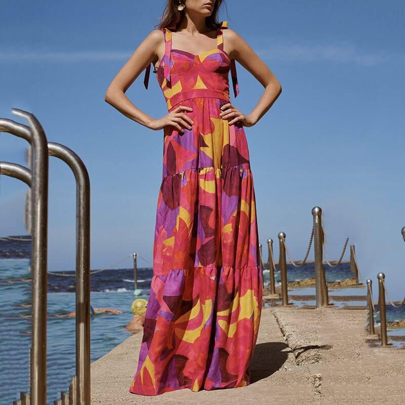 Layered Print Maxi Dress