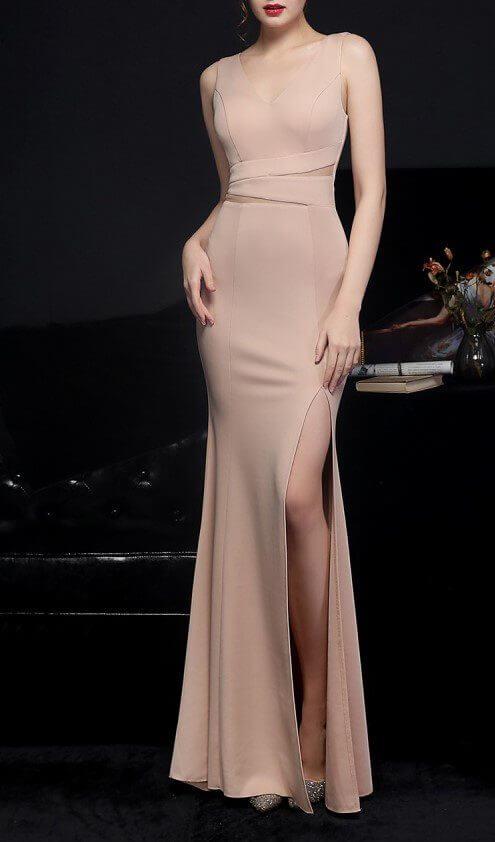Sleeveless V-Neck Evening Gown