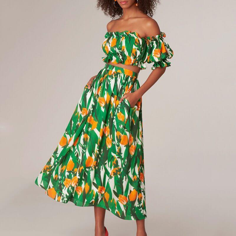Floral Off The Shoulder Skirt Set