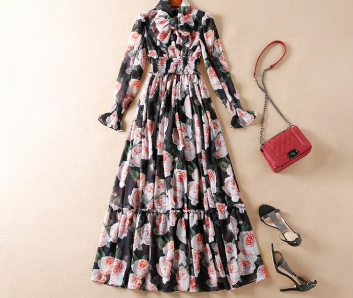 Maxi Length Bow Tied Floral Print Dress
