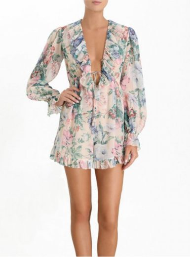 Chiffon V-Neck Long Sleeve Romper