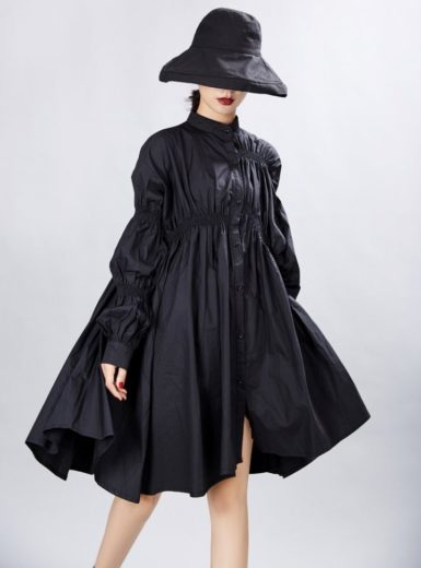 Lantern Sleeve Shirt Dress