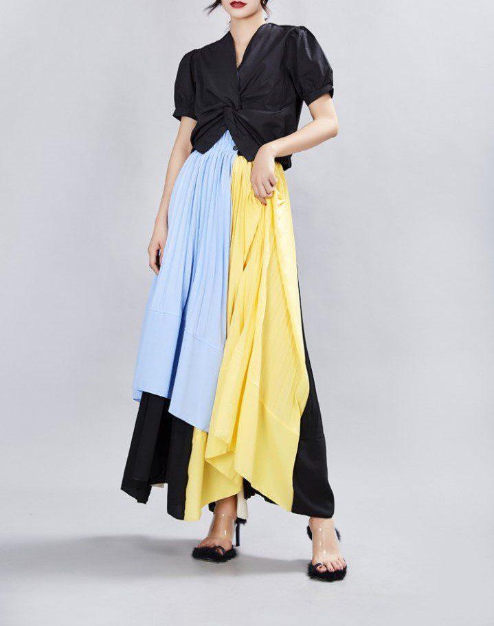 Mixed Color Midi Skirt