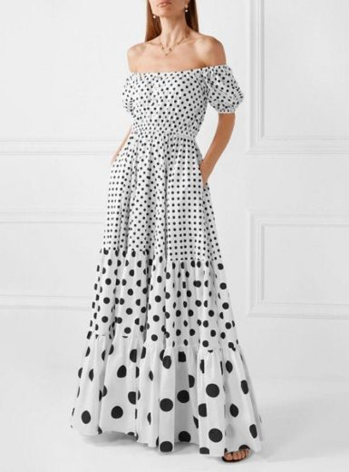 Polka Dot Bubble Strapless Maxi Dress
