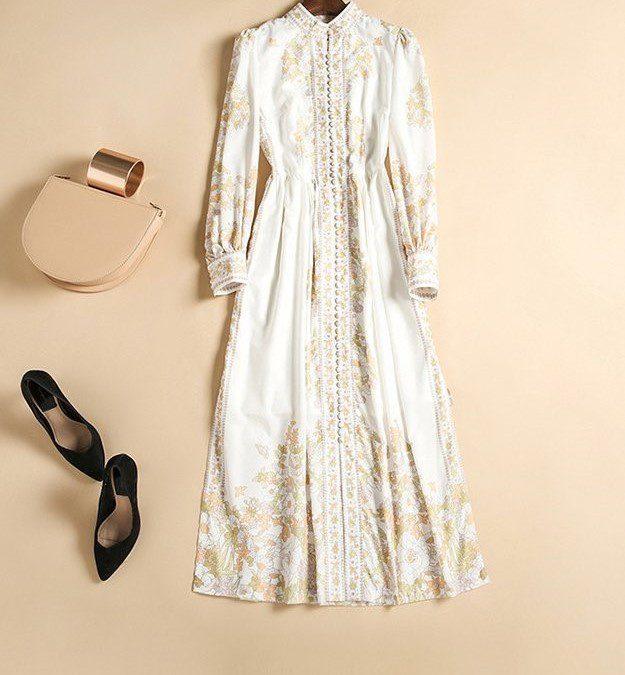 Printed Court Style Midi Dress