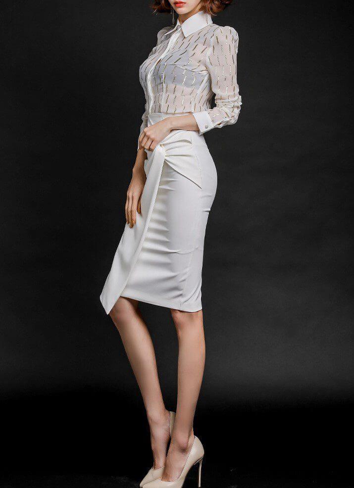Long Sleeve 2 Piece Pencil Skirt Set
