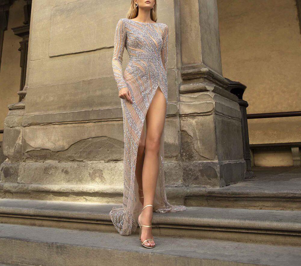 Sheer Sequence Evening Dress